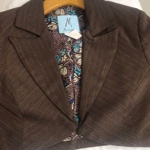 Marciano Jackets & Coats - Marciano Brown with Pink Pinstripe Suit